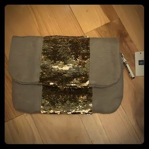 NWT Gap Sequined and Canvas Clutch